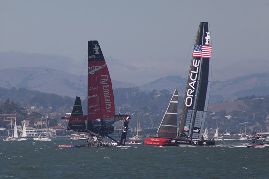 team NZ nearly capsizes